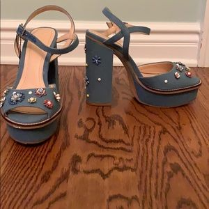 Denim ZARA heels with beaded details
